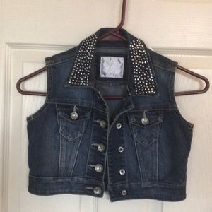 Girls Jean jacket with embellished collar